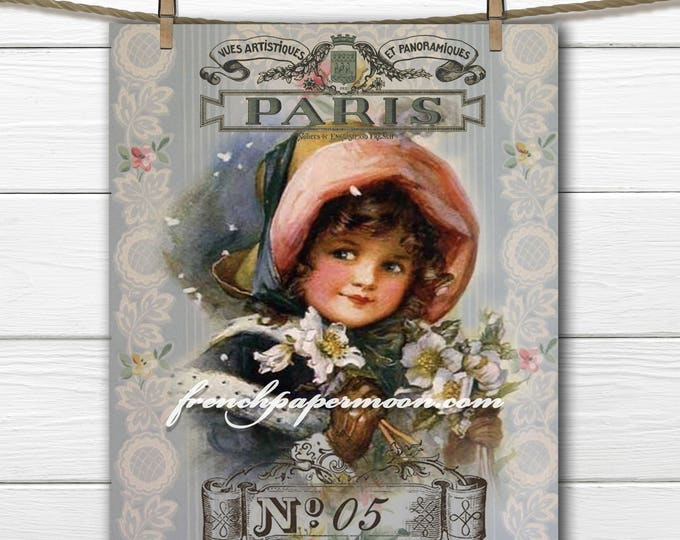 Shabby Digital Victorian Girl, French Graphics, Victorian Child, Printable Christmas, Holiday Graphic, Fabric Transfer