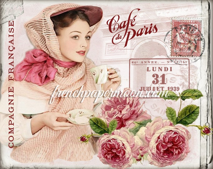 Shabby French Tea Digital Graphic, French Cafe, Arc de Triomphe, Roses, Large Image Transfer, French Crafts, French Pillow Image