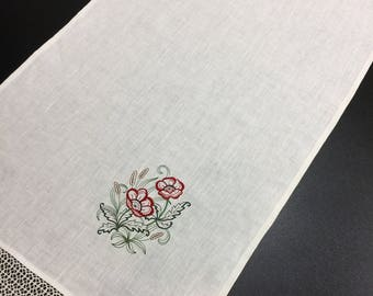 Embroidered Linen Table Runner Linen Lace Poppies Ivory 49 inches