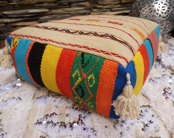 Vintage Batania Kilim Pouf Floor Pillow Tassel Handmade Native Wool Throw Ottoman Pouf 03YS038