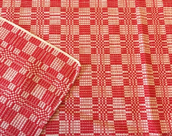 Woven Red White Tablecloth, Cotton Overshot Homespun Pattern, Dining Room  Kitchen, Christmas Decorating