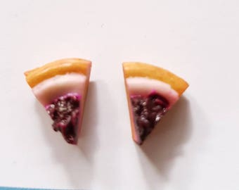Cheese cake studs - blueberry cheese cake stud earrings - cheese cake earrings - cupcake studs - food jewelry - food studs