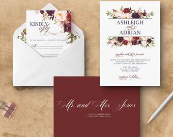 Floral Burgundy Wedding Invitation