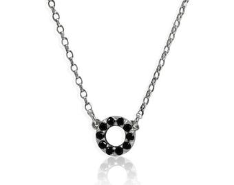 Open circle pendant necklace, 14K White Gold, black diamonds, 0.35 CTW, eternity necklace, birthday present, tiny open circle necklace
