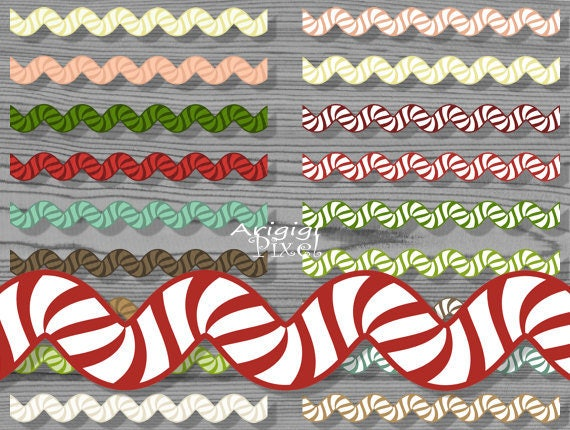 border clip art set - ricrac striped - wavy digital ribbons - Christmas colors