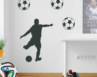 Kicking Football Player Wall Sticker A71