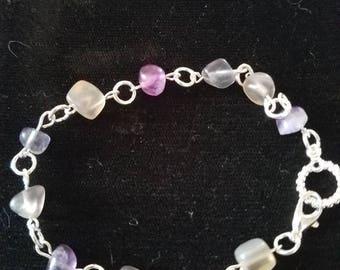 Rainbow flourite bracelet