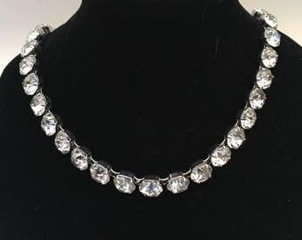 "Eisenberg signed clear rhinestone necklace vintage stunning elegant 17"" Choker length"