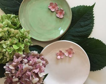 Ceramic saucer with cherry blossoms
