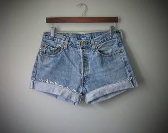 Levi's 501 Shorts High Waist Mid Rise Vintage Levis Cut Off Shorts Levi Shorts Denim Cutoffs Distressed Button Fly Jean Shorts Medium 6 8