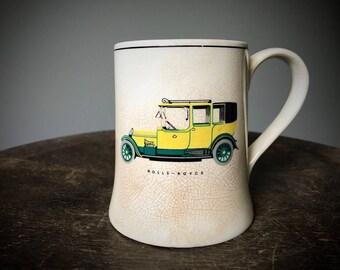 Vintage Rolls Royce Mug Ceramic Coffee Mug Men's Shaving Mug Hot Rod Yellow Classic Car Collector Sandland Gray's Pottery England 1012 Gift