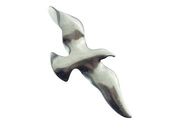 Large Silver Bird Brooch, Large Seagull Brooch, Silver Bird Pin, Silver Seagull Pin