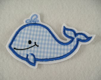 Embroidered application, Whale, 10.5 x 7 cm (1288)