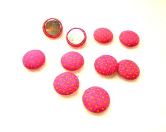 10 cabochon, fabric, 12mm, pink / yellow