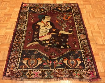 Unique Hand Knotted Pictorial Persian Shiraz Rug #277
