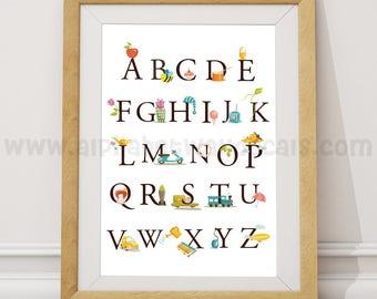 Alphabet Poster - Nursery Wall Art - Playroom Poster - Alphabet Wall Art - Alphabet Nursery Art - Alphabet Nursery - Nursery Art - 22-0002