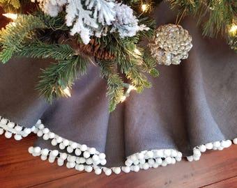 Small Christmas Tree Skirt | Steel Gray Burlap |White Pom Pom Trim|Modern |Coastal Christmas|Farmhouse Tree Skirt