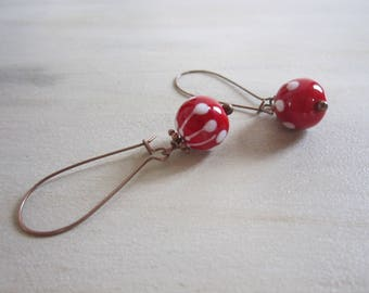Perlerouge copper Lampwork bead earrings
