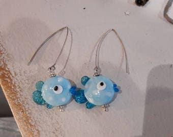 Bead spun torch, turquoise blue fish, large hook earrings