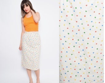 Vintage 80's Micro Tulip Print Beige Skirt / High Waist Tulip Print skirt /Beige Linen Pencil Skirt - Size Small
