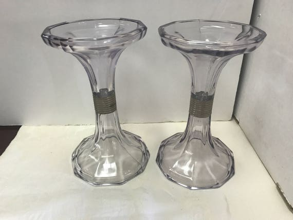 Lavender glass candle holders