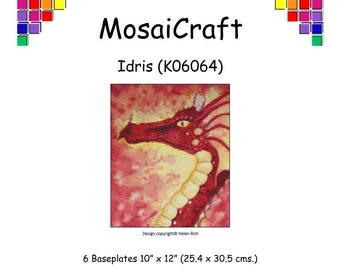MosaiCraft Pixel Craft Mosaic Art Kit 'Idris' Red Dragon (Like Mini Mosaic and Paint by Numbers)