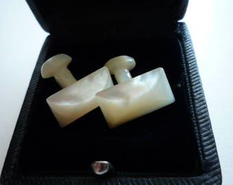 Antique Victorian Hand Carved Mother of Pearl Oval Plane Cufflinks