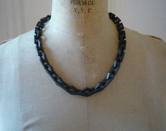 Antique Victorian Mourning Gutta Percha Link Necklace