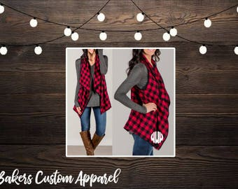 In stock | Buffalo Plaid Red and Black Check Monogrammed Vest | Buffalo Check Monogammed Top | Monogrammed Buffalo Check Cover Up