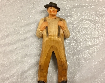 Vintage Swiss Hand Carved Wood Fugurine  Swiss Folk art from Brienz Switzerland
