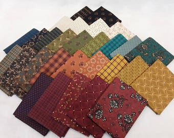 Kim Diehl Fat Quarter Bundle of 29 Helping Hands Collection. Quilt Cottons and Yarn Dye Fabrics In Reds, Greens, Blues, Browns and Golds