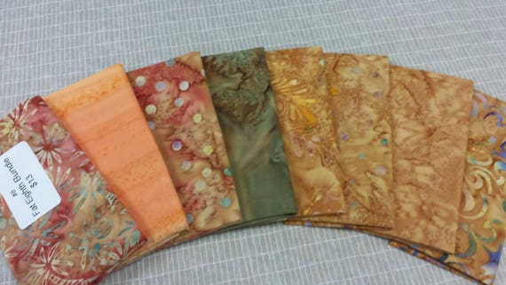 Batik Fabric Bundle of 8 Fat Eighth Pre Cuts For Quilting and Sewing. Tans, Peach, Orange and Green Mixed Prints of Palm Trees, Dots Swirls