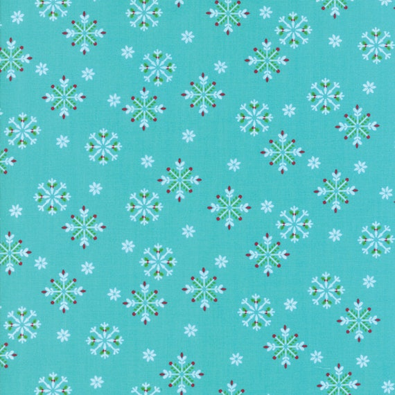 White Snowflakes With Red Berries On Aqua Background From Jingle Birds by Keiki For Moda Fabric by the Yard 33254 13