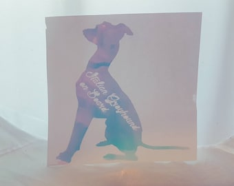 Vinyl Dog On Board Sticker / Holographic / Cute / Custom Decal / Multichrome / Duo Chrome / Metallic / Car / Wall / Laptop / ANY BREED