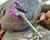 Silver and Purple Dragon Key Pendant