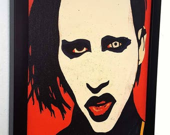 Marilyn Manson  -_-  Red Retro  -_- Framed Wall Art Giclee Mix media Canvas Paint -artwork ,gift