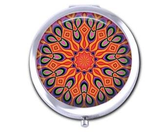 Mandala pocket mirror, girlfriend gift for her, mandala compact mirror kaleidoscope design purse mirror.