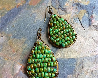 Czech glass earrings beaded earrings rustic earrings blue green earrings seed bead earrings boho earrings earthy earrings tribal earrings