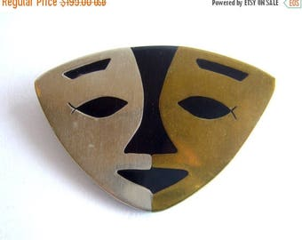 Winters End Sale Mexican Modernist Sterling Brass + Onyx Abstract Face Mask Brooch