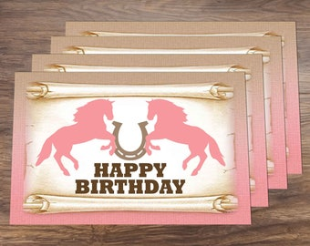 Cowgirl Birthday Party Digital Placemat