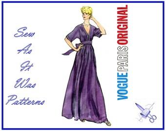 "1970s FF Vogue Paris Original 2886 Nina Ricci Flared Evening Dress Low Neckline Kimono Sleeve Vintage Sewing Pattern Size 16 Bust 38"" 97cm"