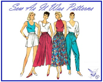 """FF Uncut 1980s Style 4728 Vintage Sewing Pattern Waist Gathers Flared Shorts Pants Skirts Culottes Sizes14 16 18 Waist 36 38 40"""" 92 97 102cm"""