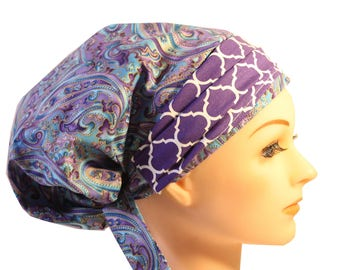 Scrub Hat Cap Chemo Bad Hair Day Hat  European BOHO Banded Pixie Tie Back Blue Paisley Purple Band  2nd Item Ships FREE
