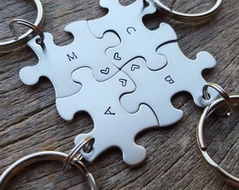 Customizable  Puzzle Piece Key Chain Personalized with Initials and Heart best friends / College Moving/Family/ sorority sisters key chain