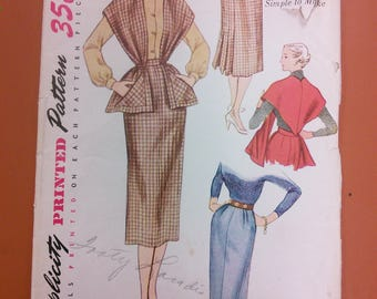 Simplicity 3655 2-Piece Suit Dress Stole Skirt Wrap Vintage Sewing Pattern 1940s 40s Size 26
