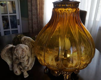 Reserve for Ivy, Vintage, Amber Mid Century Table Globe Lamp