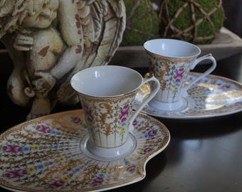 FREE SHIPPING, Vintage, Set of Two Sorelle Luncheon Plates with Cups
