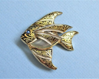 Gold Damascene Angel Fish Brooch / Pin Gold / Black marked Spain 1960's Lapel Brooch Spanish Fish Figural Brooch White Jelly Belly