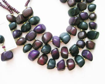 "SALE Wood Beaded Bib Necklace Set Multi Strand 24"" Necklace Post Earrings Purple Blue Beads Spring Accessory Costume Fashion Jewelry Vintage"