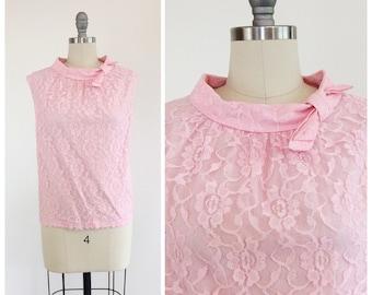 50s Pink Lace Blouse / 1950s Vintage Top Shirt / Large / Size 10